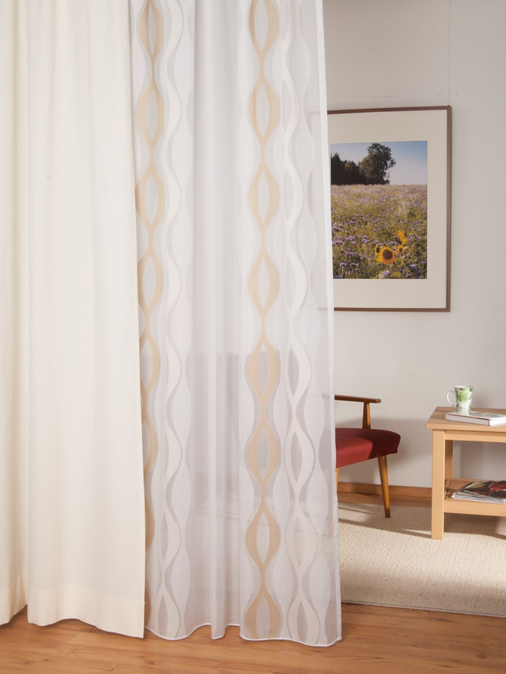 gardine ellipse mit bleiband. Black Bedroom Furniture Sets. Home Design Ideas