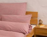 "Reversible bed linen ""Innviertler squared and striped"", made to measure - cherryred"
